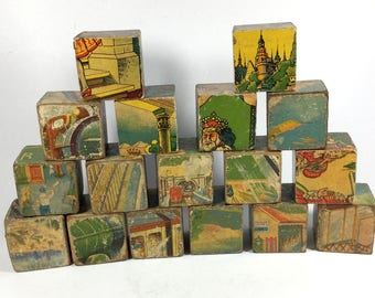 Wooden building blocks, Picture cubes, 6 sided puzzles,