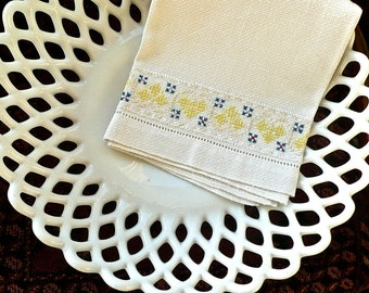 Vintage Linens - Hand Embroidered Towel - Irish Antique Huck Linen - Embroidered with Clover -Hand Towel -Victorian Decor - Wedding Linens