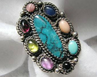 Vintage SILVER CLOUD Ring with a RAINBOW of Semi-Precious Stones -- size 9, 10g, Excellent Condition, Beautiful Detail