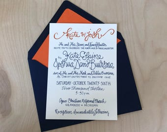 Wedding Invitations Navy and Orange / Colorful Wedding Invitations / Custom Calligraphy / Custom Wedding Invitation / Classic Invitations