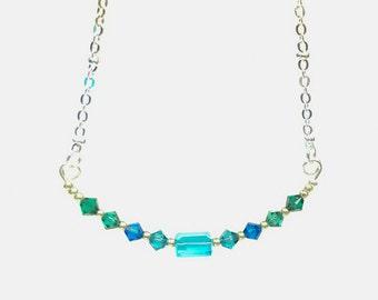 Swarovski Crystal Wave Silver Necklace