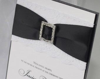 Luxurious Wedding Invitations - Lace Wedding Invitations - Bling Wedding Invitations - Rhinestone Buckle Invitations - Classic Wedding