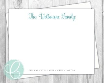 Family Stationery - Flat Note Cards - Set of 12 - Family Personalized Stationery - Names Kids - Glossy or Matte Return Address Labels