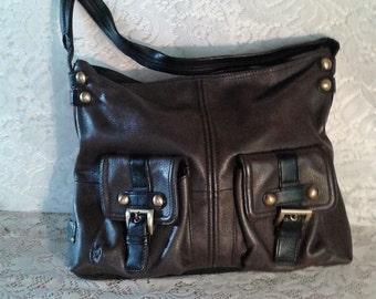 Brown & Black Leather Purse, Leather Handbag, Large Shoulder Bag, Tignanello Leather Buckle Purse, Vintage Handbag, Leather Tote Bag