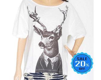 SALE Deer Tank Top Deer Shirt Shirt blogger shirt quote shirt slogan shirt graphic tee front short than crop top screen print size L