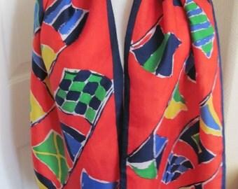 """Scarf Glentex Red Blue Colorful  Soft Silk Scarf 15"""" x 58"""" Long"""