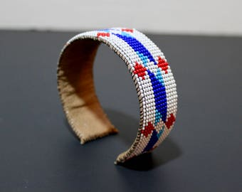 Beaded Cuff Bracelet, Native American Inspired, Leather Bracelet, Large Cuff, Red, White and Blue, geometric pattern