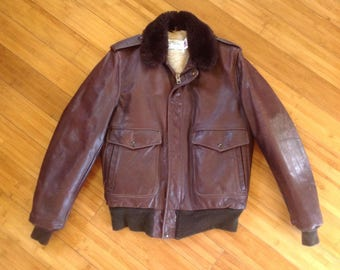 Schott I.S.674 M.S Brown Leather Flight Jacket, Bomber Jacket Sz 40 L, Made in the USA, Retro Military Coat, Mens Medium Long