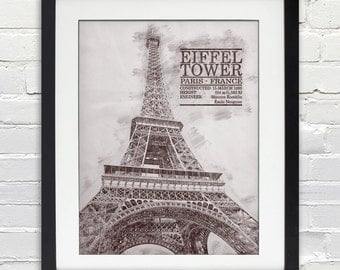 Eiffel Tower Sketch Print, Typography Poster, Print or Canvas, Paris France Building and Icon, 8x10, 11x14, 16x20, 20x30