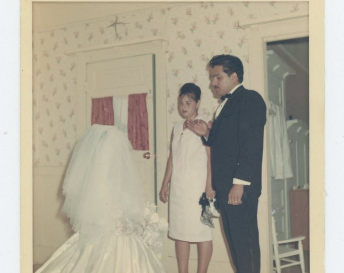 Vintage Snapshot Photo, c1960s-70s: Kneeling Bride (72546)