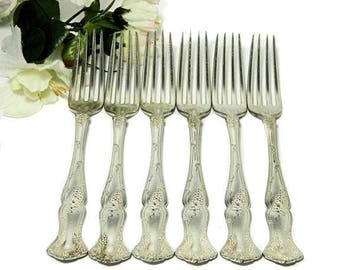 Six Antique Rogers Bros Silverplate Dinner Forks 1904 Vintage Grape Pattern