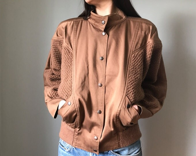 Vintage 80s Mocha Sweater Jacket