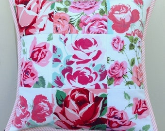 vintage pink rose patchwork pillow cover 14x14
