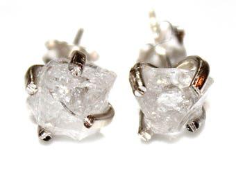 Raw White Topaz Stud Earring Organic Earring Clear Topaz Jewelry Free Form Earring December Birthstone Topaz Prong Set Earring Raw Gem