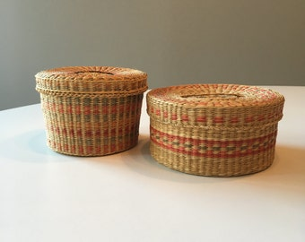 Vintage Grass Baskets - Set of 2 Small Lidded Baskets - Woven Baskets with Lids