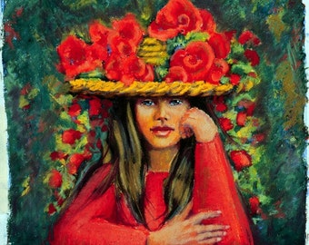 "9"" X 10"" Fine Art Giclee Print, Girl in Red, Flower Girl, Girl in a Flowered Hat, Pastel Painting By Jan Maitland, Red Flowers, Portrait,"