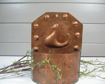 Vintage Copper Mail Holder, Letter Holder, Planter, Wall Caddy , Farmhouse, Country, Cottage Style