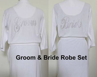 Mr and Mrs Gifts, White His and Hers Robes, Bride Spa Satin Kimono Robes, Mens bathrobe Honeymoon Lingerie Wedding Party Personalized Robes