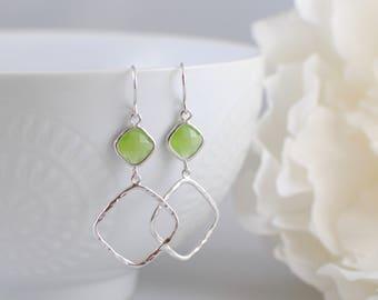 The Sophie Earrings - Green Apple/Silver