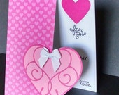 Shop Closing Sale Valentine's Day Card in Pink and White with Cut Out Area on Front and Stamped Inside Greeting - Valentine's Day Card - Lov