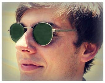 Round P3 Sunglasses / Mens Gatsby Glasses / John Lennon Glasses / Green Lenses / Silver Gunmetal Frames / O'Malley Sunglasses