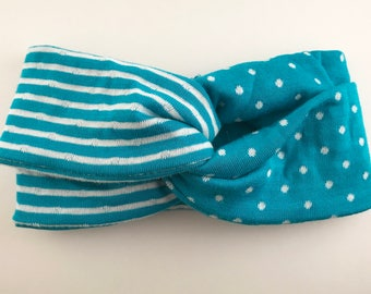 Turban Knot Bow Headband -- Turquoise Spots & Stripes