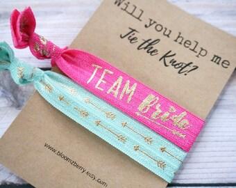 Aqua/Shocking Pink Bridemaid Gift 2 pcs set - Will You Help Me Tie the Knot- Bridesmaid Proposal Gift- Wedding/Bridesmaid/Gift/Party