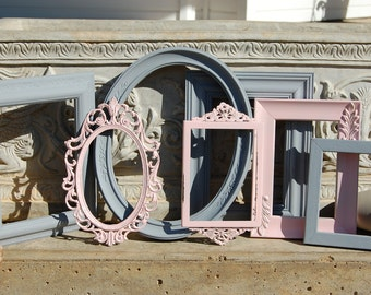 Baby Girl Nursery Picture Frames - Set Of 7 Picture Frames - Shabby Chic Frames - Collection Of Pink & Grey Frames