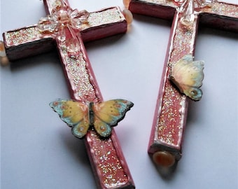 Two different Crosses choose which one clearance pink butterflies girls religious art gift Christian gift wall decor butterfly cross