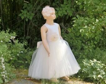 Ivory tulle flower girl dress. Long flower girl dress tulle, Ivory tulle flower girl dress, ivory tulle dress, Lace flower sash