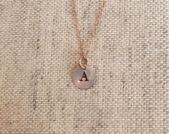 Tiny Personalized Rose Gold Hand Stamped Initial Necklace