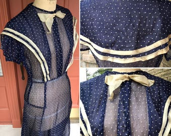 1930s Navy Blue Organdy Dress with Flocked Stars and Sailor Neckline | Jazz Age Sheer Bias Cut