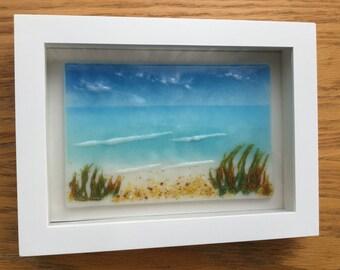 Fused Glass Seascape, Beach Frit Glass Painting, Seaside Framed Wall Art