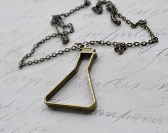 Biolojewelry - Open Bronze Beaker Science Chemistry Biology Necklace