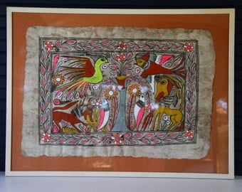 Vintage 1960's Mexican Amate Bark Painting Framed Hand Painted Folk Art Neon Animals Hunting Boho Chic Decor Whimsical Fantasy