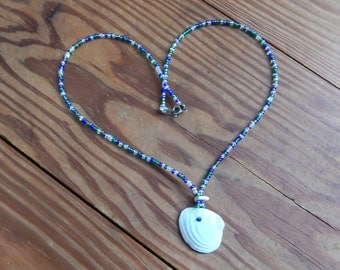 Handmade Beaded Necklace with Found Shell and Glass Seed Beads - Blue, Purple, Green, White - Ocean, Beach, Hippie, Gypsy, Boho