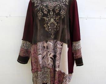 Plus Size Long Tshirt - 2X 3X - Artsy Clothing - Hippie Boho Chic - Wearable Art - Eclectic Fashion for Women - Earth Tones - Urban Chic