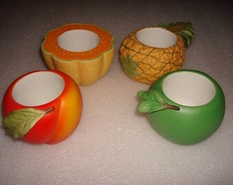 Set Of Four Partylight Ceramic Fruit Candle Holders