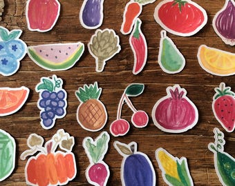 Hand drawn fruit and veggie stickers