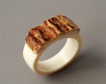 Antler ring, Size 9 US, Antler rings, Antler jewelry, Elk antler, Moose antler, Women ring, Bone ring, Bone jewelry, Antler signet ring