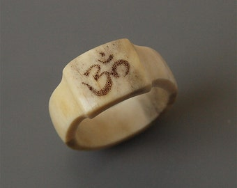Om ring, Size 9,5 US, Antler ring, Antler jewelry, Ohm ring, Aum ring, Scrimshaw ring, Bone ring, Bone jewelry, Women ring, Rings