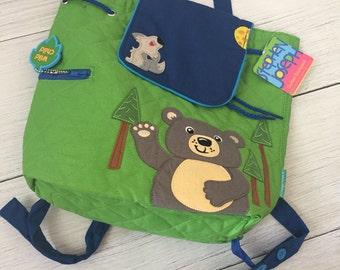 Monogram Stephen Joseph Quilted Backpack -BEAR