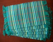 Set of 6 Handwoven Nicaraguan Placemats in Shades of Turquoise, Sea Green, and Burnt Orange