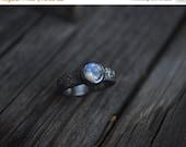 Sale Rainbow Moonstone Ring, Moonstone, Sterling Silver, Rustic Moonstone, Engagement
