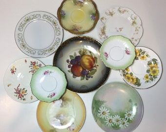 Mismatched Plates / 10 Vintage Pink, Green & Yellow China Plates for Plate Wall Hanging, or Serving at Showers, Tea Parties, Luncheons, etc.