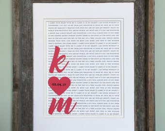 Wedding Gift For Couples | Unique Wedding Gift | Custom Wedding Gift | Framed First Dance Lyrics or Wedding Vows