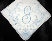 Something blue wedding, bridal keepsake, monogrammed handkerchief, gift for bride, initial h, g, f, e or b  hankerchief hankie