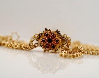 Vintage Gold Filled Watch Fob Necklace Bohemian Garnet Black Enamel Slide