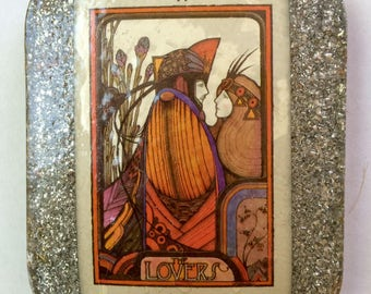 The Aquarian Tarot, The Lovers Card VI and The Star XVII, Vintage Tarot Deck, Cards in Orgonite, Charging Plate
