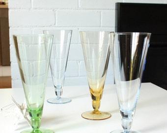 Vintage Champagne Flutes Glasses Set of Four